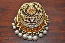 Broche pierres jaunes, perles.