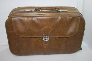 VTG 1983 American Tourister Brown Leather Suit Case Carry On Luggage 22x13x6.5