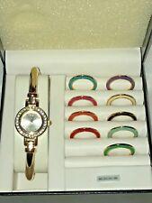 Vintage BENRUS Bracelet Watch Interchangeable Colored Metal Bezels Gold-Tone