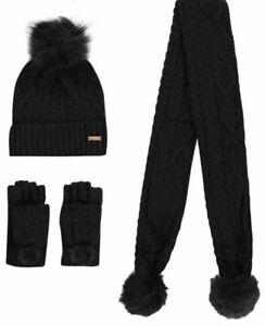 FIRETRAP Pom Pom  Girls SCARF HAT GLOVES WINTER SET Beanie 6-10 Yrs Black E122