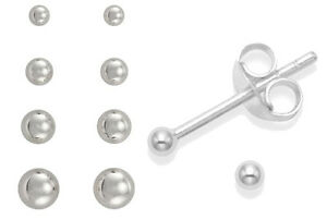 Pair SILVER Plated EARRINGS Plain Ball Stud WOMENS MENS Small Tiny