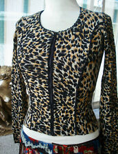 BLUMARINE Italy Animal Print Zipper Cardigan Sweater Top ~ 40