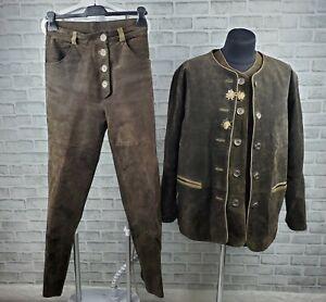 Der Wildschütz Leather Trachten Loden Tyrol Hunting Suit Vest Blazer Pants 38-40