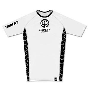 TRIDENT JIUJITSU Mens BJJ Rash Guard Short Sleeve Jiu Jitsu Compression MMA UK