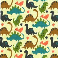 FLANNEL By 1/2 Yard Old Friends Pistachio ~ Michael Miller Fabric Dinosaur Cream