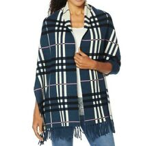 Colleen Lopez Reversible Plaid Knit Topper with Fringe Navy Plaid 2X/3X Size