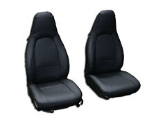 PORSCHE BOXSTER 1997-2004 BLACK S.LEATHER CUSTOM MADE FIT FRONT SEAT COVER