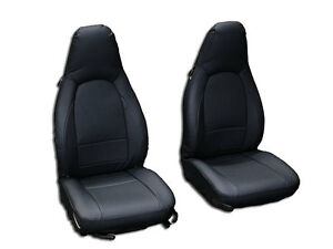 PORSCHE BOXSTER 1997-2004 BLACK S.LEATHER CUSTOM MADE FIT 2 FRONT SEAT COVERS