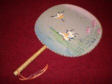 "Vintage Hand Painted Japanese Rigid Hand Fan ""Water Fowl Frolicking"" 12-1/4"""