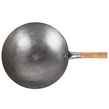 "14"" Mandarin Carbon Steel Round Wok with Riveted Wood Handle"