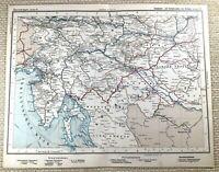 1905 Antik Eisenbahn Map Of Austro Hungarian Schienen Zagreb Trieste Fiume
