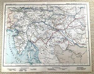 1905 Antique Railway Map of Austro Hungarian Rail Railroad Zagreb Trieste Fiume