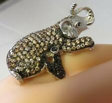 GOOD LUCK STERLING ELEPHANT RING SIZE 6.5 HEMATITE CRYSTAL STONES