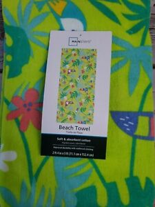 "Tucan Beach Towel 28"" x 60"" Soft Cotton Tropical Colorful Large Yoga Mat Blanket"