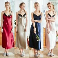 Lady Silky Satin Full Slip Long Dress VNeck Lace Trim Slim Sleepwear Retro Red