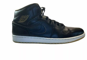 Nike Air Jordan 1 Retro Mid Black Metallic Gold 554724-042 men's size 13