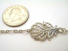 John Hardy Classic Chain Sterling Silver Feather Bracelet with Diamond Pave NWT