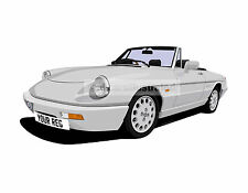 ALFA ROMEO SPIDER CAR ART PRINT (SIZE A4). CHOOSE CAR COLOUR, ADD REG DETAILS!