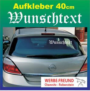 "Auto Heckscheiben-Aufkleber ""Wunschtext"" 40cm weiß"