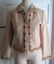 Womens St. John Sport by Marie Gray Embellished Feathers Zip Up Blazer Jacket P