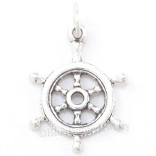 3D CAPTAIN'S WHEEL Ship Sail Boat Pirate Charm Pendant STERLING SILVER Nautical