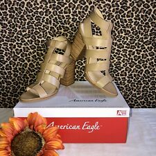 🦅AMERICAN EAGLE🦅by Payless Wilder Taupe Strappy Block Heels | 9.5 |