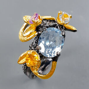 Handmade Design Blue Topaz Ring Silver 925 Sterling  Size 6.5 /R177781