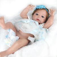 "22""Lifelike Reborn Baby Girl Doll Full Body Soft Vinyl Silicone Newborn Toy Gift"