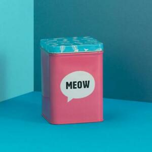MEOW Cat treat tin 13 x 9cm Really Good Rectangle pink storage container New