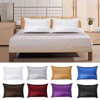 2Pcs Pure Mulberry Silk Satin Pillow Case Pillowcase Cushion Cover Home Decor CY