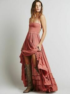 FREE PEOPLE Extratropical Long Maxi Dress Wood Rose Pink XS