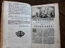 DICTIONNAIRE PORTATIF DES BEAUX ARTS Architecture.Sculpture.Peinture.Poesie.1752