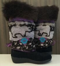 TECHNICA Black Fur Apres Ski Boots With Bears Made in Italy US Size 7 EUR 38