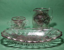 Set of Pitcher Sugar Bowl and Serving Platter Glass with silver decor
