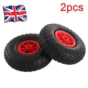 """2X10"""" Pneumatic Sack Truck Trolley Wheel Barrow Foam Tyre Puncture Proof UK"""