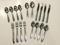 Vintage MCM H B Co. Stainless Steel 'Heather' Pattern Flatware 18 pcs.