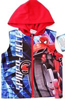 Marvel Ultimate Spider-Man Kids Boys Blue Zipped Hoodie Sleeveless Sizes 2 3 3X