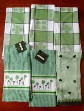 Lot of 6 Cotton DISH TOWELS ~ Green & White SHAMROCKS; St. Patrick's Day Irish