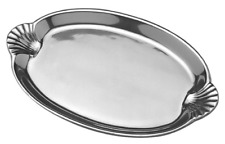Oval Serving Tray Wilton Armetale Sea Life Scallop Handled 10.75 x 16.5 Inches