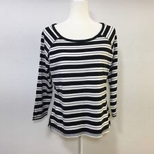 Liz Claiborne Womans long sleeve tunic top black white stripes size large