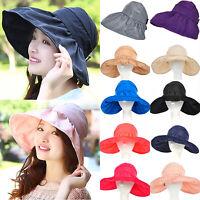 Womens Ladies Wide Brim Sun Hat Foldable Summer Beach Holiday Floppy Anti-UV Cap