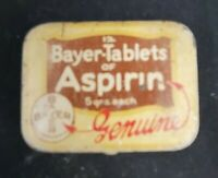 VINTAGE Genuine Bayer-Tablets of Aspirin 12 Count Empty Tin Made in U.S.A