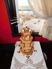 German-Style Large  Wooden Christmas Nativity  Pyramid Carousel 4 Tier