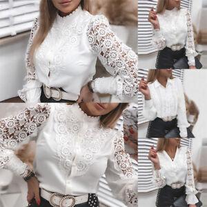 Fashion Women Sexy Lace Patchwork Hollow T-Shirt Long Sleeve Button Mesh Tops