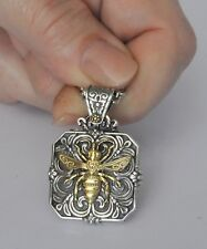 Konstantino Bee Nectar Locket Pendant Necklace Sterling 18K Gold Penelope New