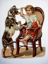 Precious Vintage Die-Cut of a Child Eating & a Dog Spilling Her Dish *