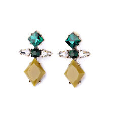 orecchini A perno Dorato Art Deco Diamentine Verde Smeraldo Sottile Retrò BB 9