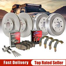 Front Brake Rotors & Ceramic Pads + Rear Brake Drums w/Shoes Kit Set For Suzuki