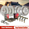 Front Brake Rotors & Ceramic Pads + Rear Brake Drums w/Shoes Kit Set For Suzuki