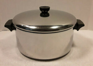 Revere Ware Tri-Ply 6 Qt Stock Pot & Lid Disc Bottom Stainless Steel 1801